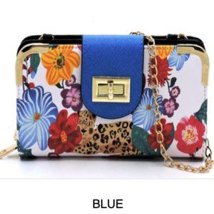 Flower Leopard Turn Lock Crossbody Wallet.